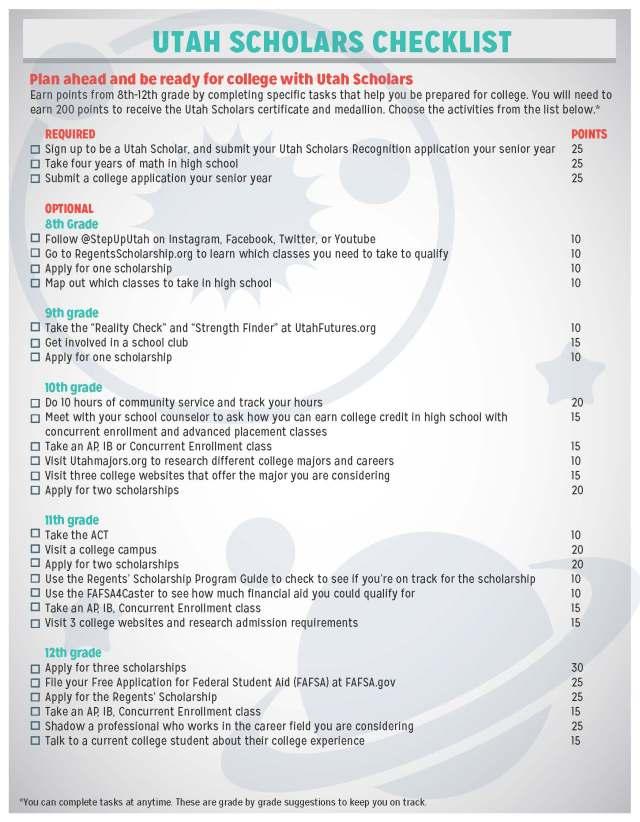 Utah Scholars Checklist