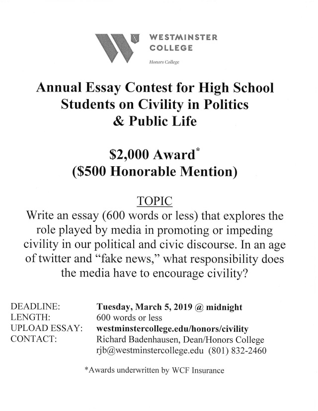students on civility in politics and public life essay contest  this essay contest is open to all high schools students in the state of  utah last year a student from north summit high school won this   prize